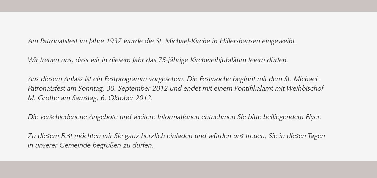 Kirchweih Jubilaum 75 Jahre